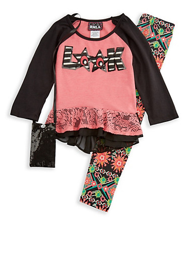 Girls 7-16 Long Sleeve Top with Leggings and Purse Set,CORAL,large