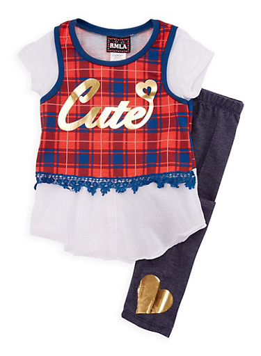 Girls 7-14 Cutie Graphic Top with Denim Knit Leggings Set,CORAL,large