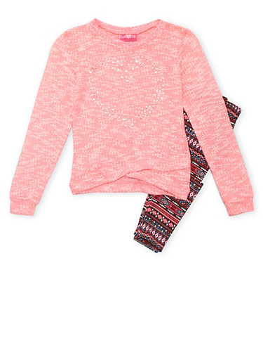 Girls 7-16 Marled Knit Heart Stud Sweater with Aztec Print Leggings Set,PINK,large