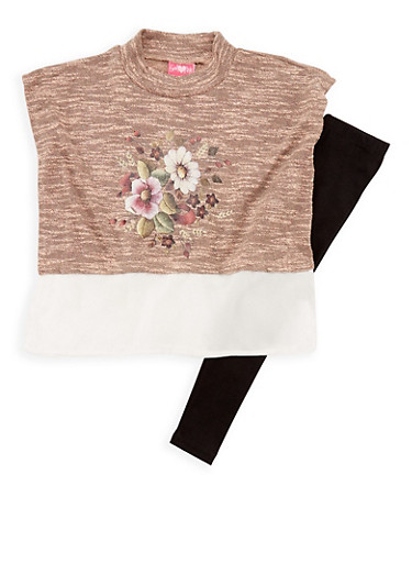 Girls 7-16 Sleeveless Floral Print Knit Top and Leggings Set,DUSTY ROSE,large