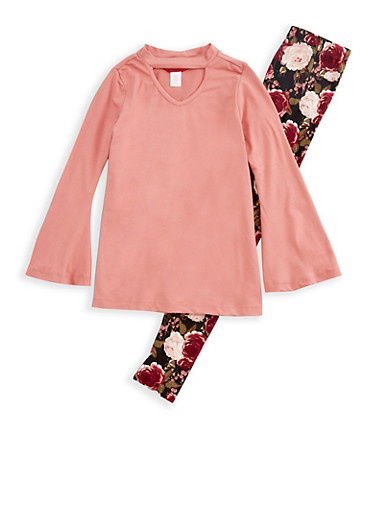 Girls 7-16 Bell Sleeve Keyhole Top with Floral Leggings Set,ROSE,large