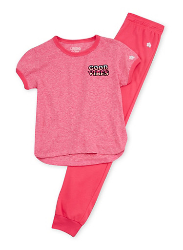 Girls 7-16 Limited Too Good Vibes Top with Solid Joggers Set,FUCHSIA,large