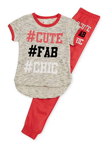 Girls 7-16 Limited Too Marled Hashtag T shirt and Jogger Set,CORAL,large