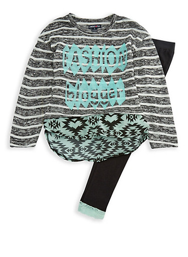 Girls 7-16 Limited Too Knit Graphic Top and Leggings Set,MINT,large