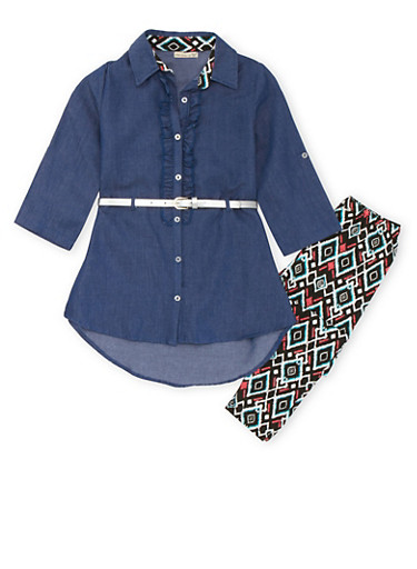 Girls 7-12 Asymmetrical Chambray Tunic Top and Printed Leggings Set,MULTI COLOR,large