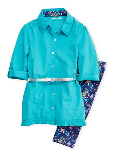 Girls 7-12 Belted Top and Printed Leggings Set,JADE,large