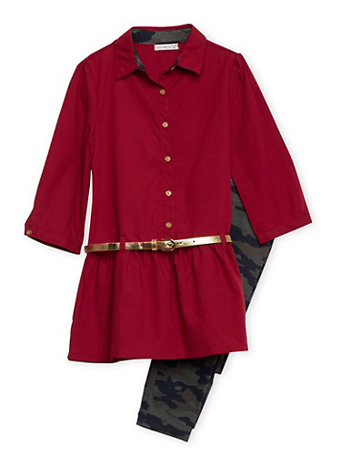 Girls 7-12 Belted Tunic Top and Camo Leggings Set,CRANBERRY,large