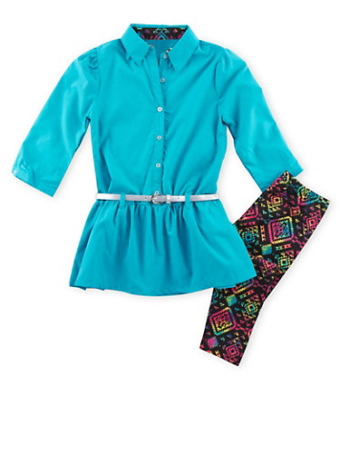 Girls 7-12 Belted Tunic Top and Printed Leggings Set,CORAL,large