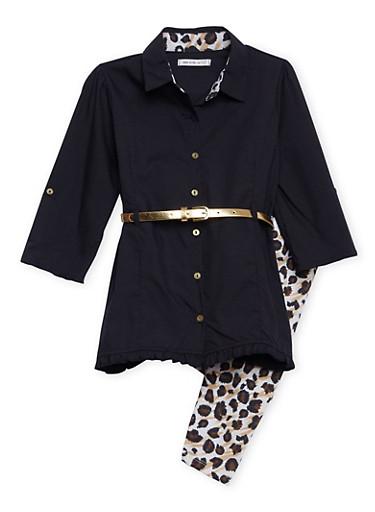 Girls 7-14 Belted Shirt Dress with Leopard Print Leggings,LEOPARD PRINT,large