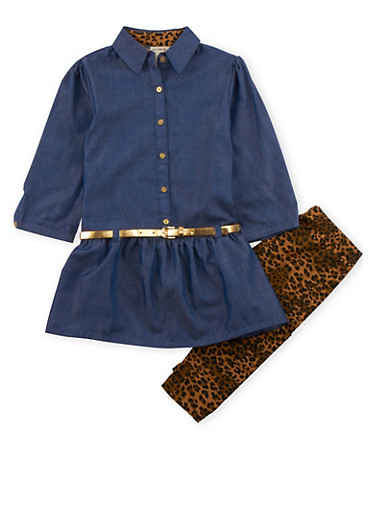 Girls 7-12 Belted Chambray Dress with Printed Leggings Set,LEOPARD PRINT,large