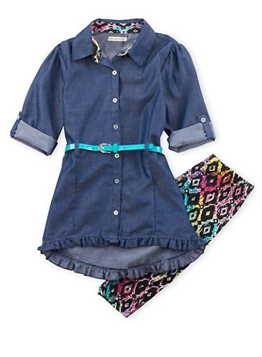 Girls 7-12 Chambray Dress and Printed Leggings Set,BLACK,large