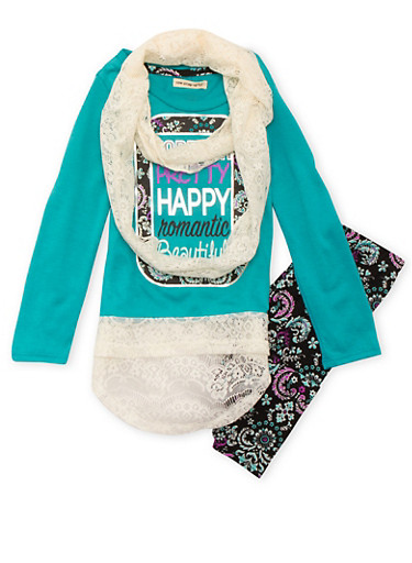Girls 7-12 Lace-Trimmed Top and Floral Leggings with Lace Scarf Set,JADE/BLK,large