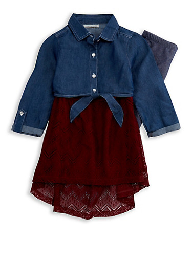 Girls 7-16 Layered Denim Top with Leggings Set,WINE,large
