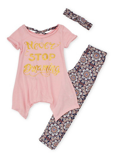 Girls 7-16 Never Stop Dreaming Graphic Top with Headband and Printed Leggings Set,PINK,large