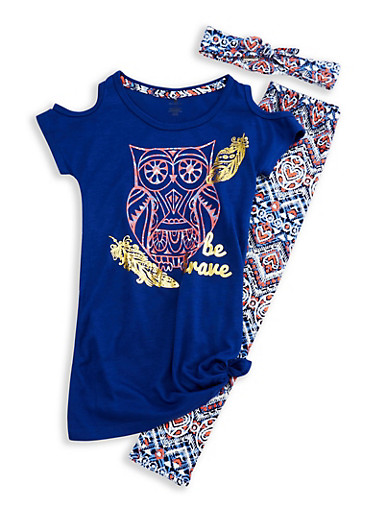 Girls 7-16 Cold Shoulder Top with Printed Leggings and Headband Set,BLUE,large