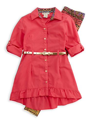 Girls 7-16 Button Front Belted Top with Printed Leggings,CORAL,large