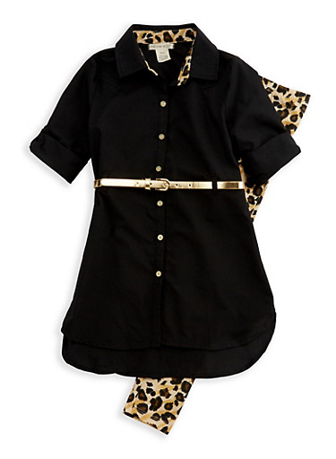 Girls 7-16 Button Front Belted Top with Printed Leggings,LEOPARD PRINT,large