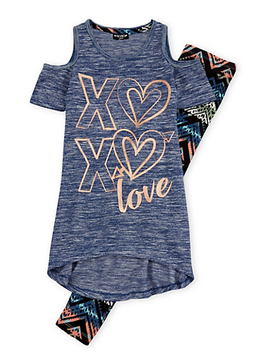 Girls 7-16 XOXO Cold Shoulder Graphic Top with Printed Legging Set,NAVY,large