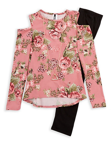 Girls 7-16 Long Sleeve Cold Shoulder Printed Top with Detachable Necklace and Leggings Set,MAUVE,large