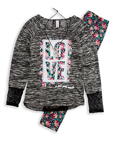 Girls 7-16 Graphic Top with Printed Leggings and Necklace,BLACK,large