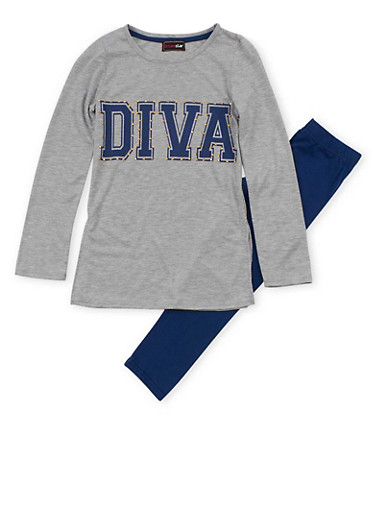 Girls 7-16 Glam Graphic Studded Long Sleeve Top with Leggings Set,HEATHER,large