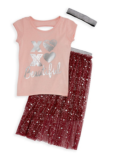 Girls 7-16 Beautiful Graphic Top and Mesh Skirt Set,POWDER PINK,large