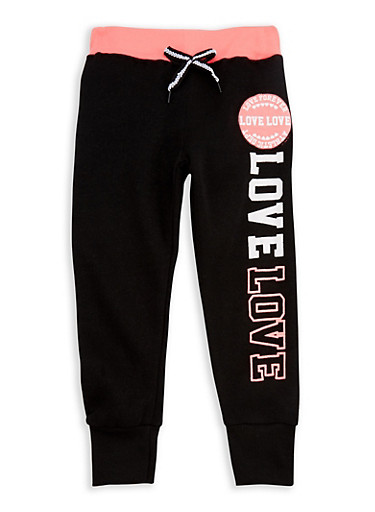 Girls 4-6x Love Forever Graphic Jogger Pants,BLACK,large