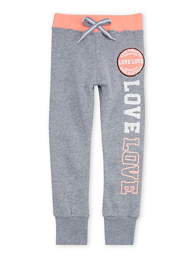 Girls 4-6x Love Forever Graphic Jogger Pants,HEATHER,large
