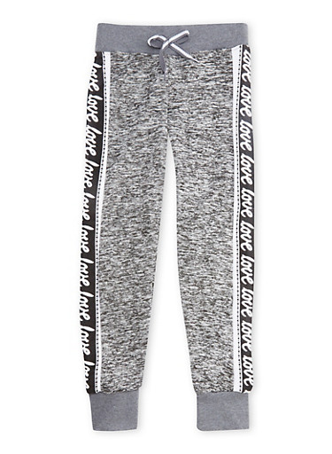 Girls 4-6x Love Graphic Joggers,LT GREY,large
