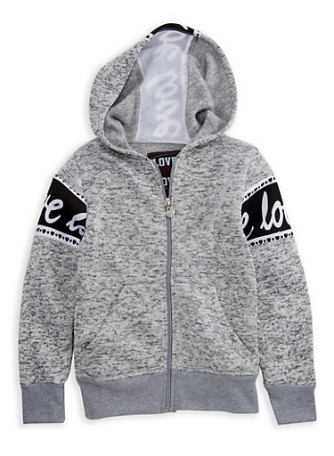 Girls 4-6x Marled Zip Front Graphic Hoodie,LT GREY,large