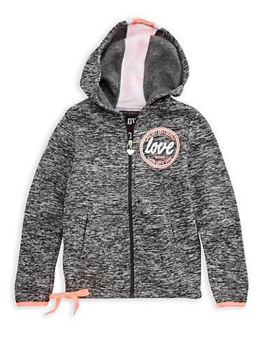 Girls 4-6x Space Dye Love Graphic Zip Up Sweatshirt,FUCHSIA,large