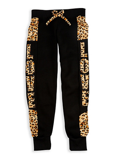 Girls 4-6x Leopard Print Accent Joggers,BLACK,large