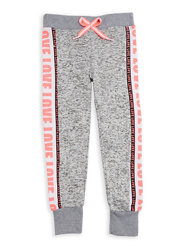 Girls 4-6x Marled Love Graphic Joggers,GREY,large