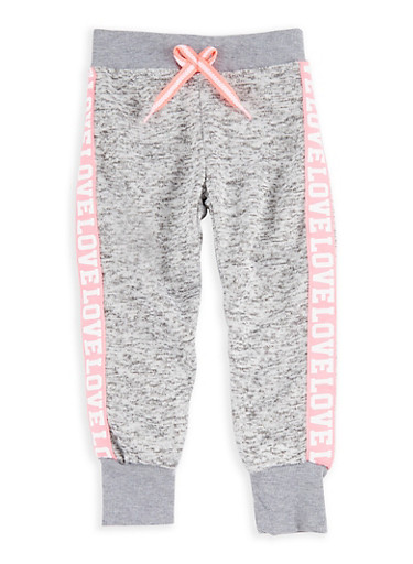 Girls 4-6x Marled Graphic Joggers,LT GREY,large