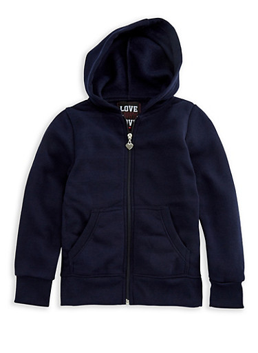 Girls 4-6x Long Sleeve Zipper Front Hoodie,NAVY,large