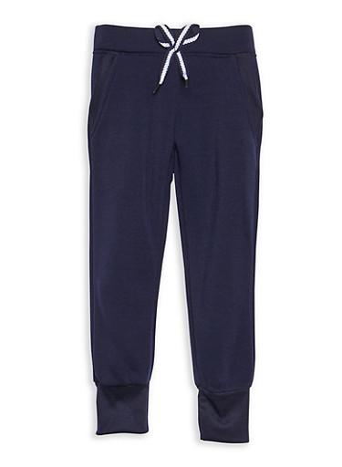 Girls 4-6x Fleece Pant,NAVY,large