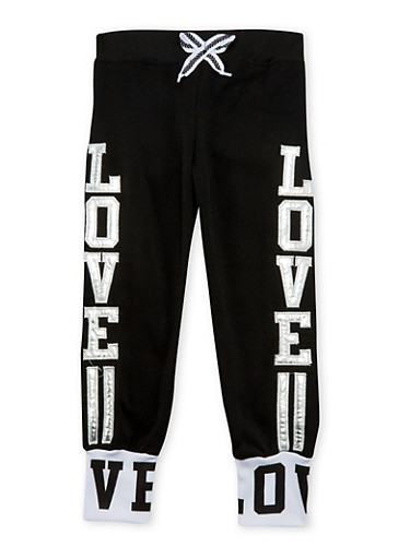 Girls 4-6x Joggers with Metallic Love Appliques,BLACK,large