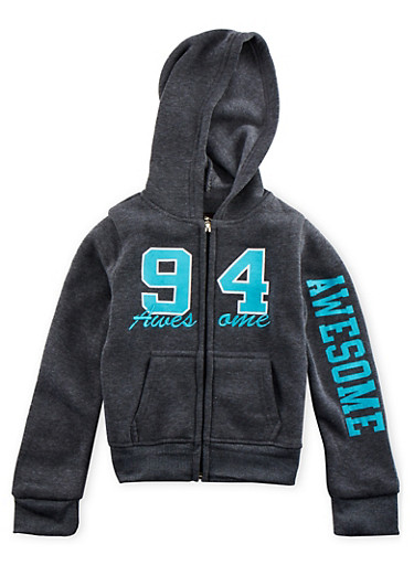 Girls 4-6x Awesome 94 Graphic Hoodie,CHARCOAL,large