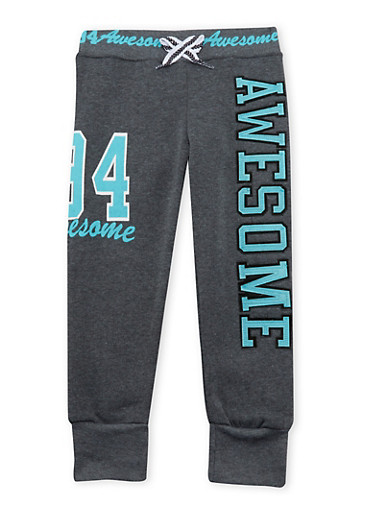 Girls 4-6x Joggers with Awesome Graphic,CHARCOAL,large