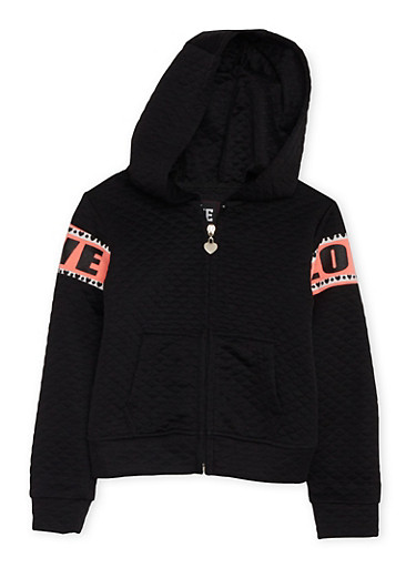 Girls 4-6x Quilted Hoodie with Love Graphics,BLACK,large