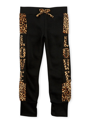 Girls 4-6x Joggers with Leopard Print Love Detail,BLACK,large