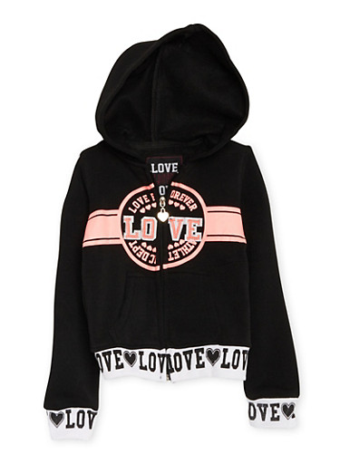 Girls 4-6x Graphic Fleece Hoodie with Love Forever Athletic Dept Print,BLACK,large