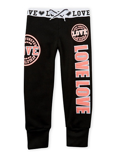 Girls 4-6x Joggers with Love Appliques,BLACK,large