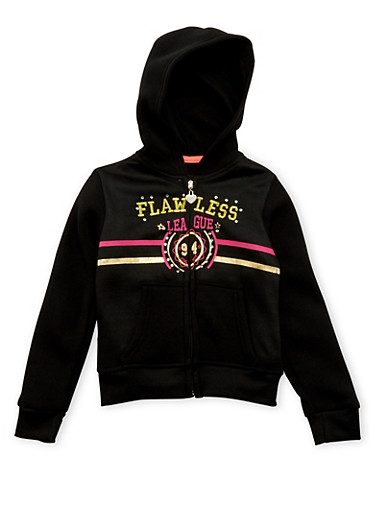 Girls 4-6x Hoodie with Flawless Graphic,BLACK,large