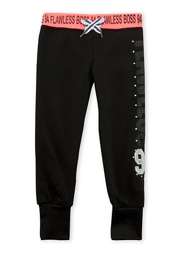 Girls 4-6x Joggers with Studded Flawless 94 Graphic,BLACK,large