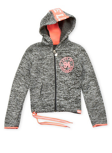 Girls 4-6x Marled Hoodie with Love Graphic,DARK GREY,large