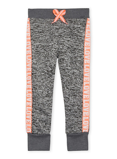 Girls 5-6x Marled Knit Joggers with Love Print Trim,DARK GREY,large