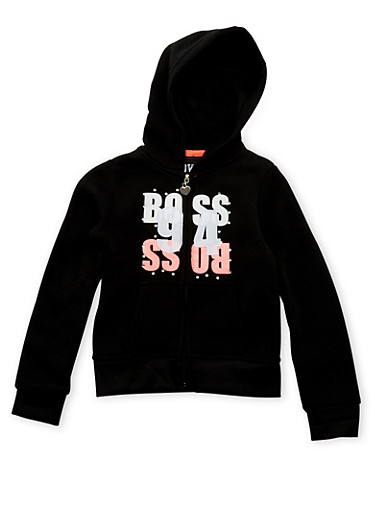 Girls 4-6x Hoodie with Boss 94 Graphic,BLACK,large