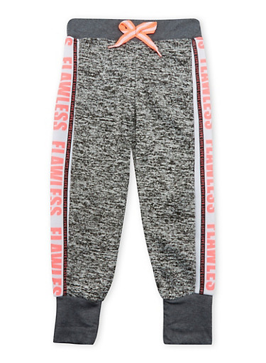 Girls 4-6x Joggers with Flawless Love Graphic,DARK GREY,large
