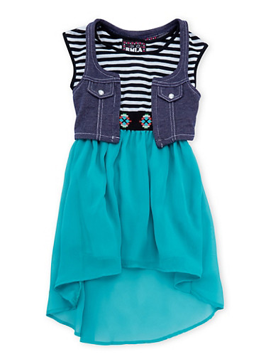 Girls 4-6x Knit Vest and High-Low Dress Set with Necklace,JADE,large